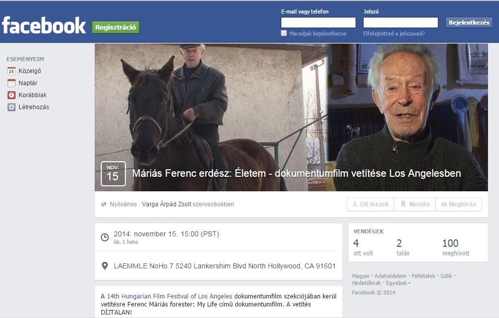 Máriás film Los Angeles-i vetítésének Facebook oldala