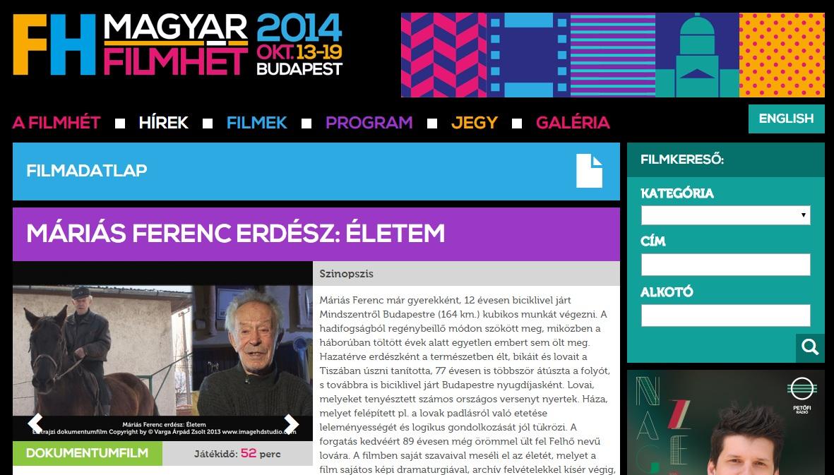 Magyar Filmhét weboldalán a Máriás Film