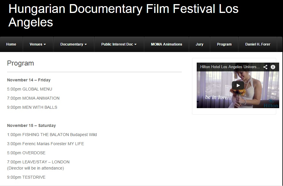 Hungarian Doc. Film Fest of Los Angeles Program 2014