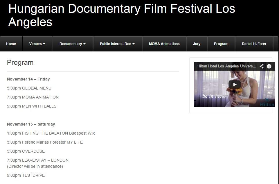 Hungarian Doc. Film Fest of Los Angeles Program 2014