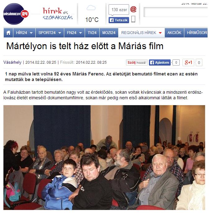 Máriás Ferenc film mártélyi bemutató 2014.02.21.