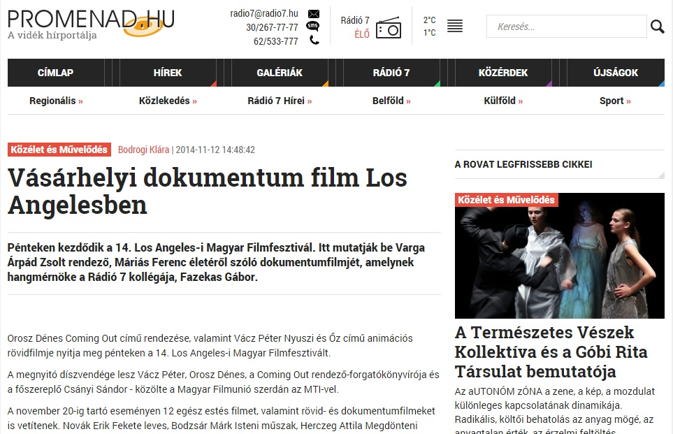 Promenád cikke a Los Angeles-i vetítéssel kapcsolatban