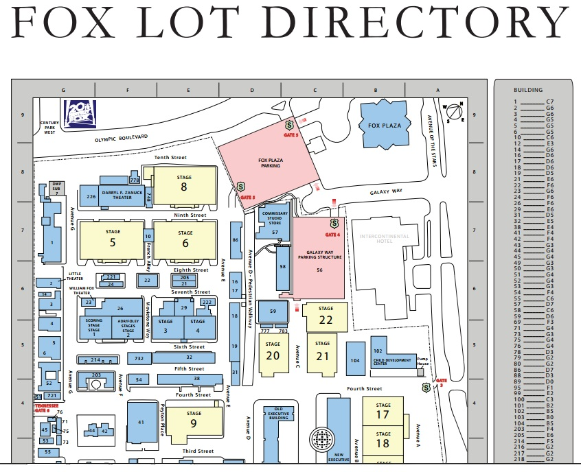 20th Century Fox Studio Lot Maps