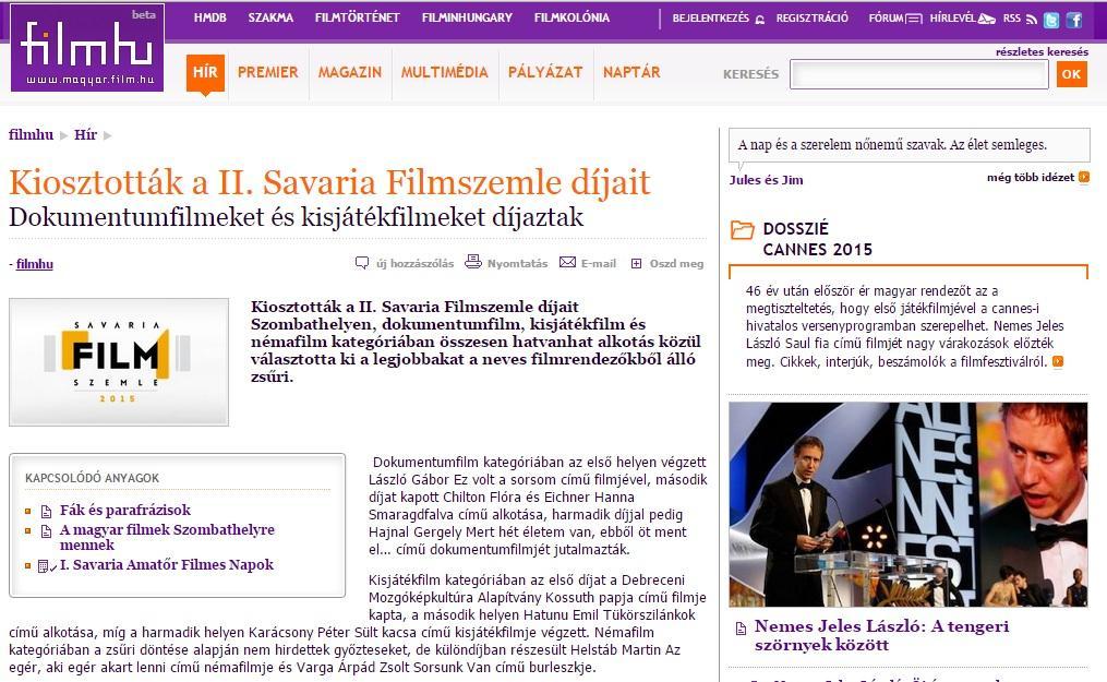 FIlm.hu írása a Savaria Filmszemle díjazottjairól