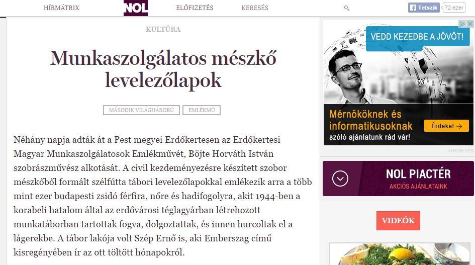 Népszabadság online cikke