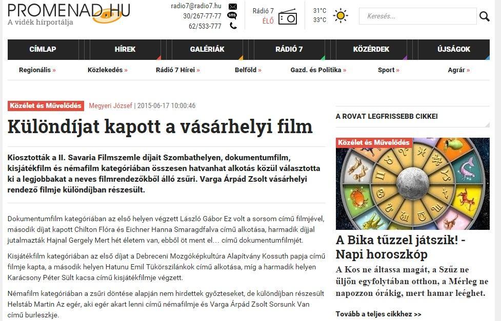 Promenád cikke a Savaria 2015 Filmszeméről
