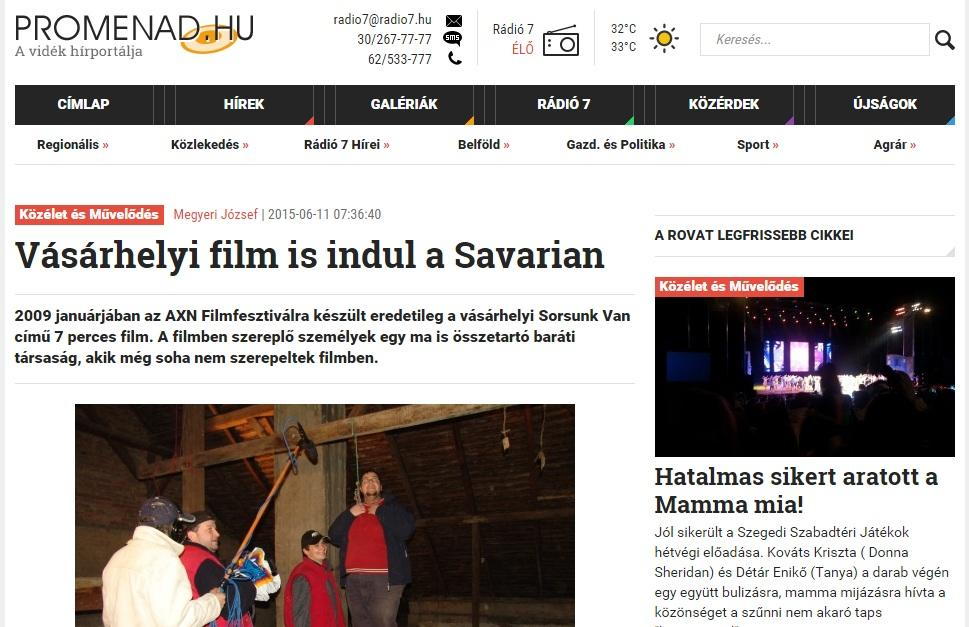 Promenád beharangozó a Savaria 2015 Filmszemléről