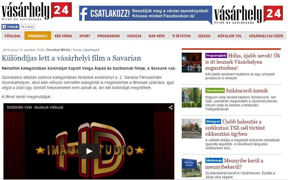 Vásárhely24 cikke a Savaria Filmszemléről