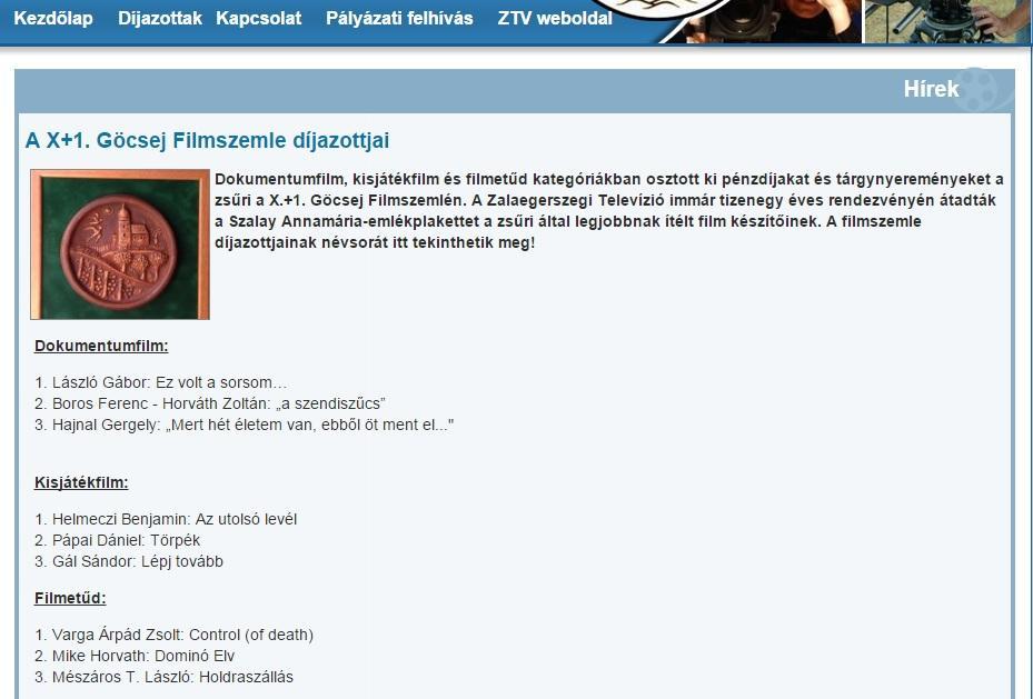 A X+1 Göcsej Filmszemle honlapja.