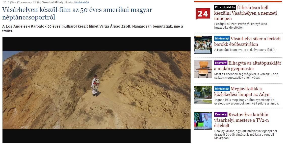Los Angees-i Kárpátok története című 52 perces dokumentumfilm